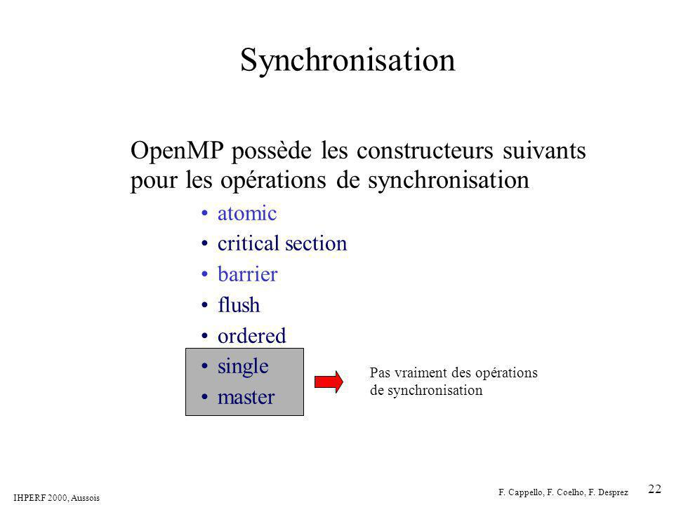 Synchronisation OpenMP possède les constructeurs suivants pour les opérations de synchronisation. atomic.