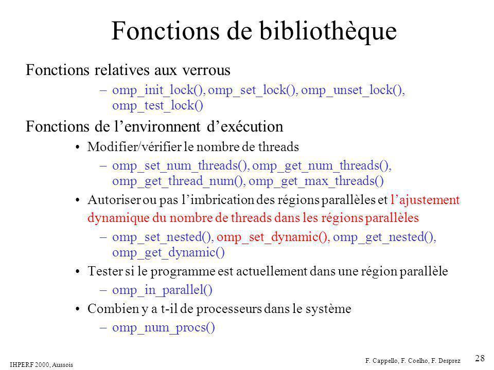Fonctions de bibliothèque