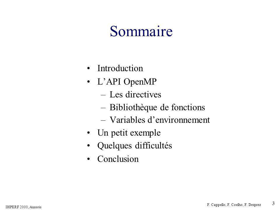Sommaire Introduction L'API OpenMP Les directives