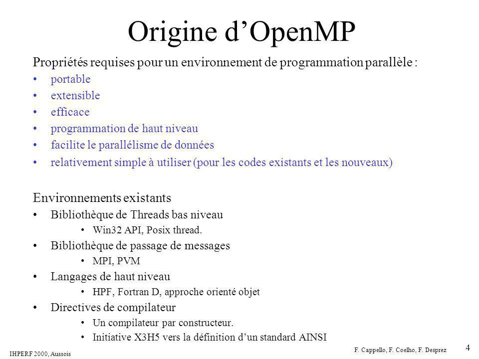 Origine d'OpenMP Propriétés requises pour un environnement de programmation parallèle : portable. extensible.