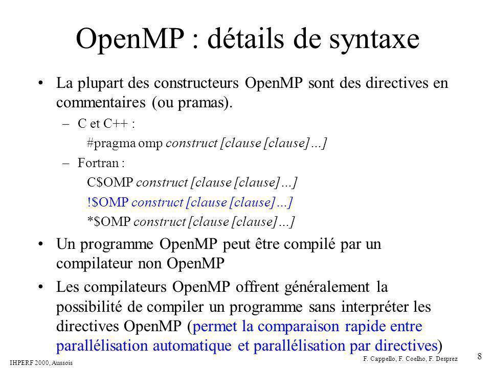 OpenMP : détails de syntaxe