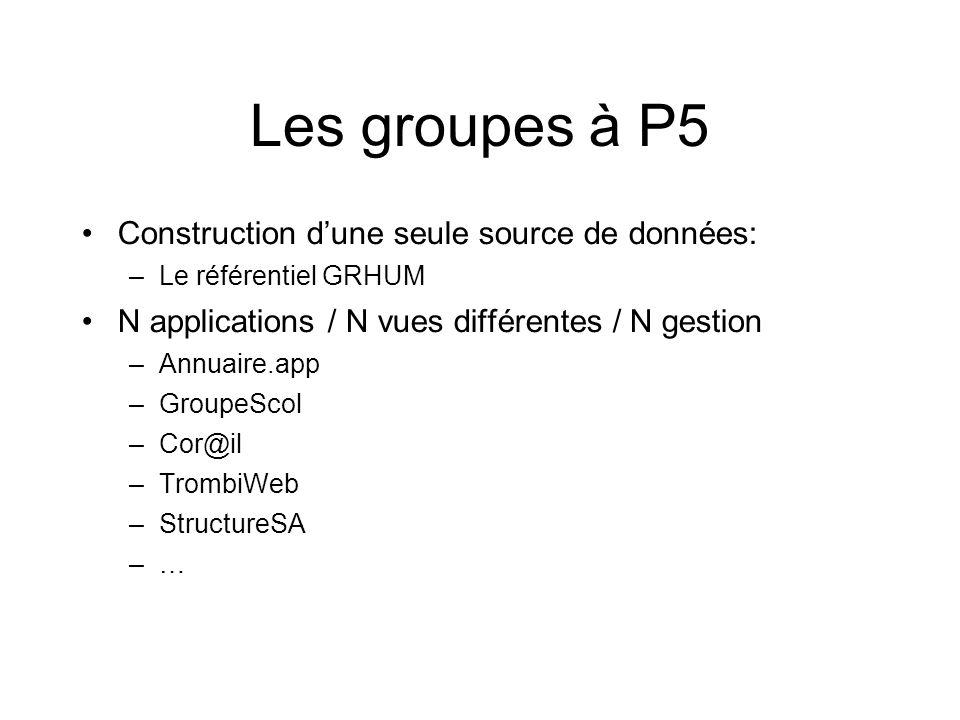 Les groupes à P5 Construction d'une seule source de données: