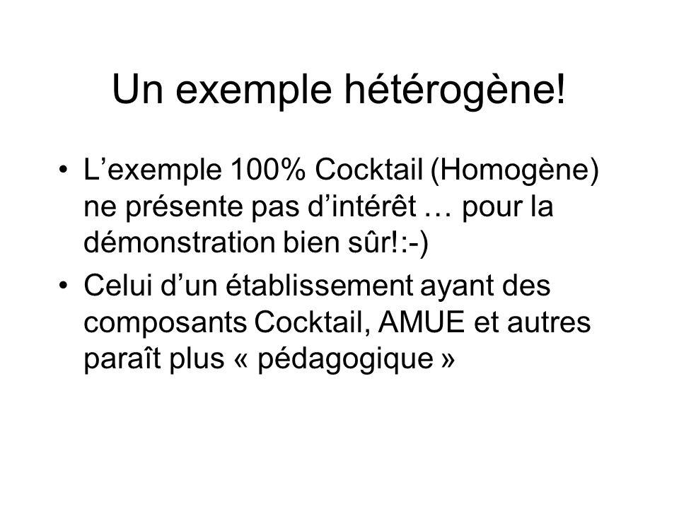 Un exemple hétérogène! L'exemple 100% Cocktail (Homogène) ne présente pas d'intérêt … pour la démonstration bien sûr!:-)