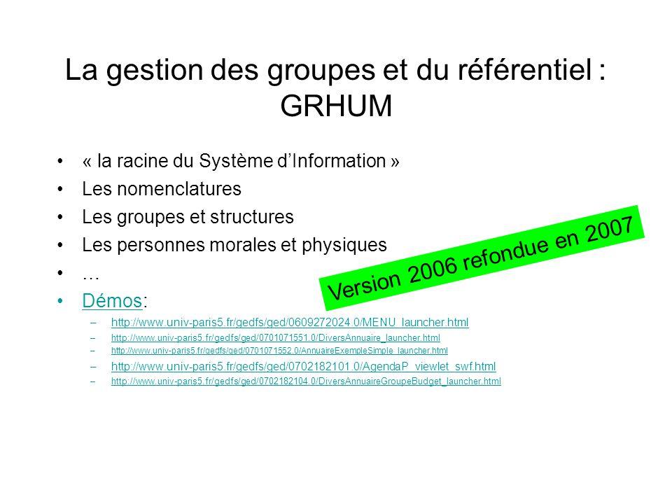 La gestion des groupes et du référentiel : GRHUM