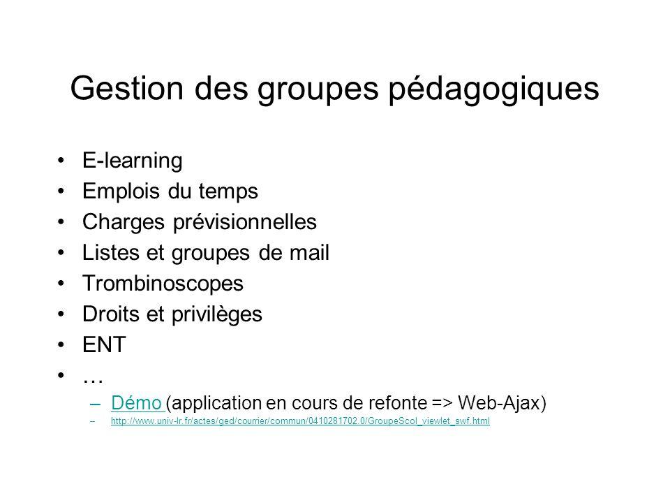Gestion des groupes pédagogiques