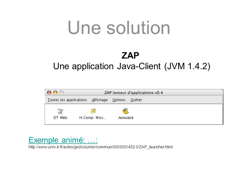 Une application Java-Client (JVM 1.4.2)