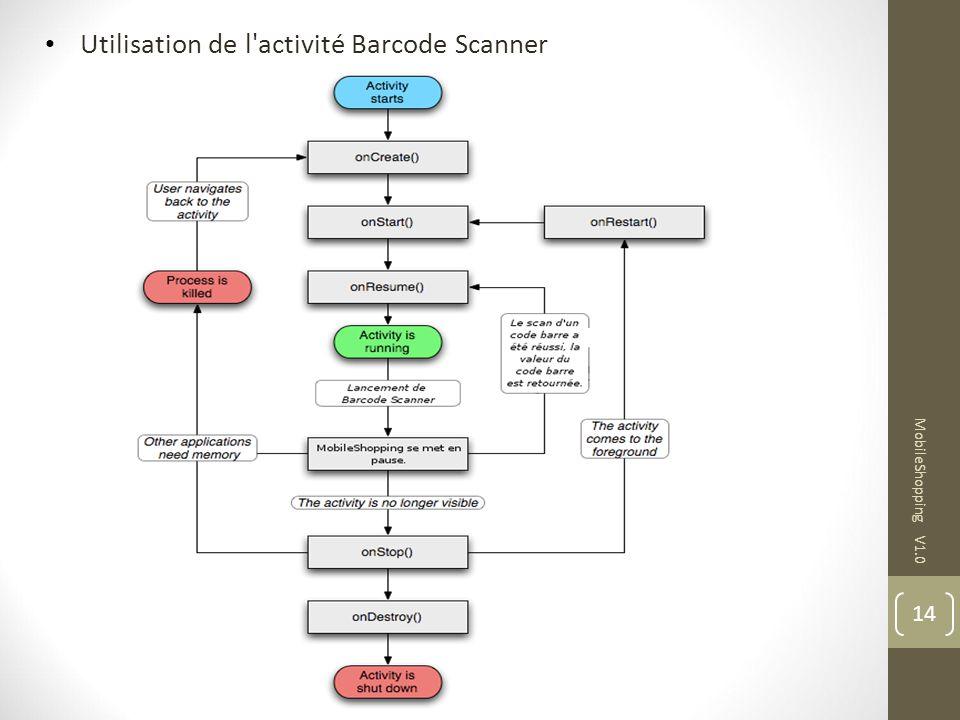 Utilisation de l activité Barcode Scanner