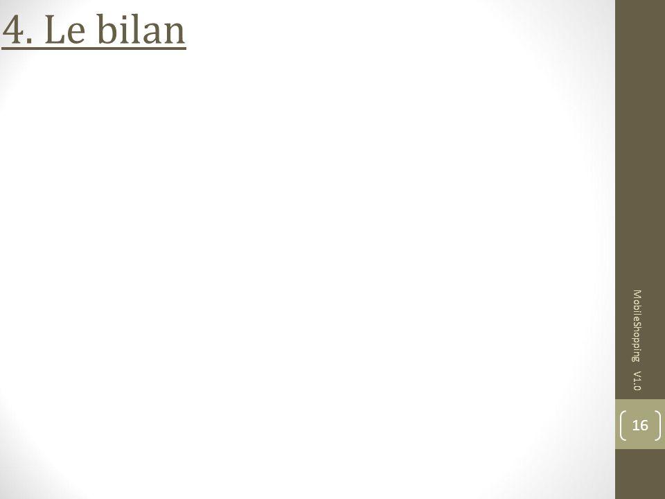 4. Le bilan MobileShopping V1.0 16 16 16 16 16