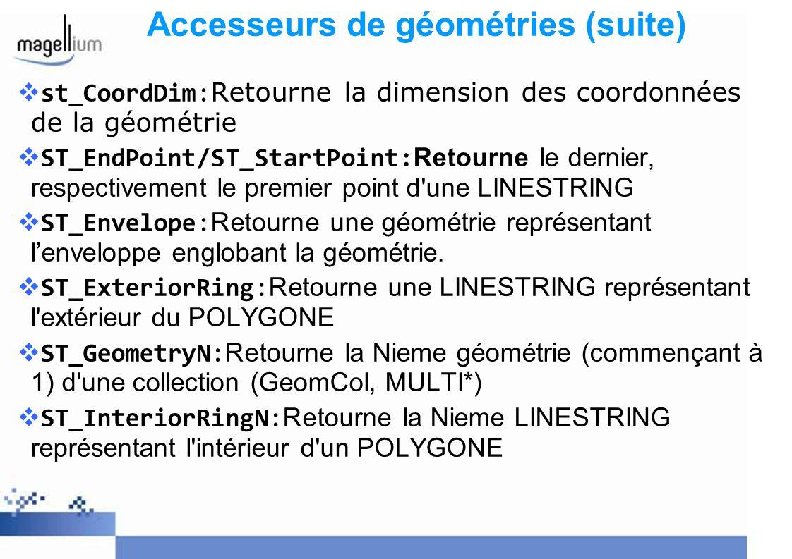 Accesseurs de géométries (suite)