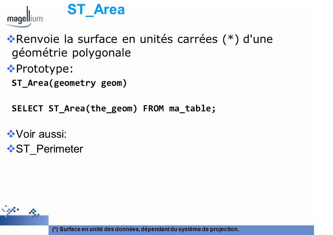 ST_Area Renvoie la surface en unités carrées (*) d une géométrie polygonale. Prototype: ST_Area(geometry geom)