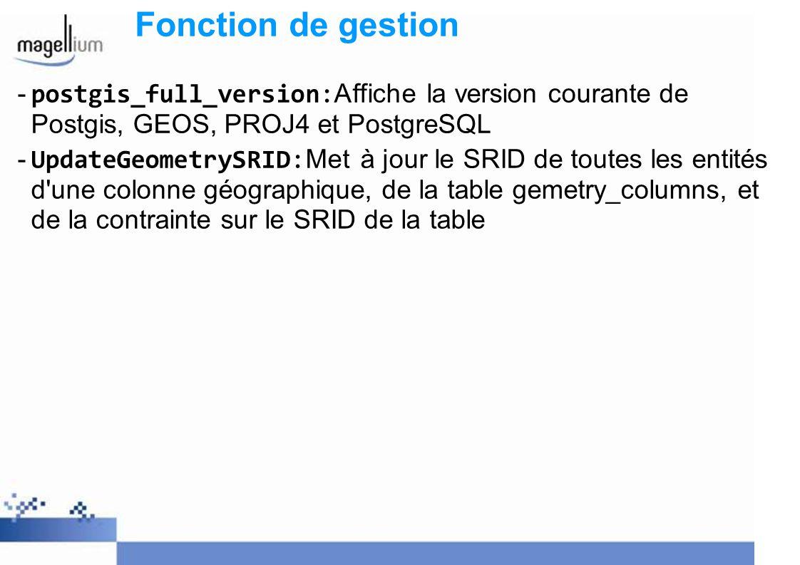 Fonction de gestion postgis_full_version:Affiche la version courante de Postgis, GEOS, PROJ4 et PostgreSQL.