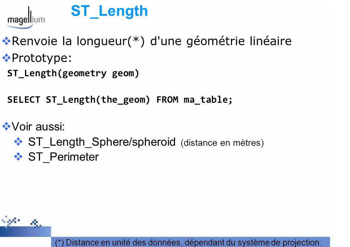ST_Length Renvoie la longueur(*) d une géométrie linéaire Prototype: