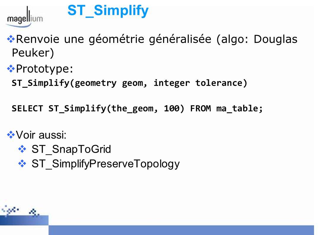 ST_Simplify Renvoie une géométrie généralisée (algo: Douglas Peuker)