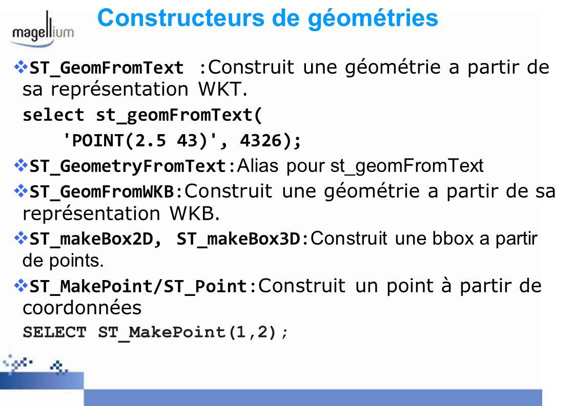 Constructeurs de géométries