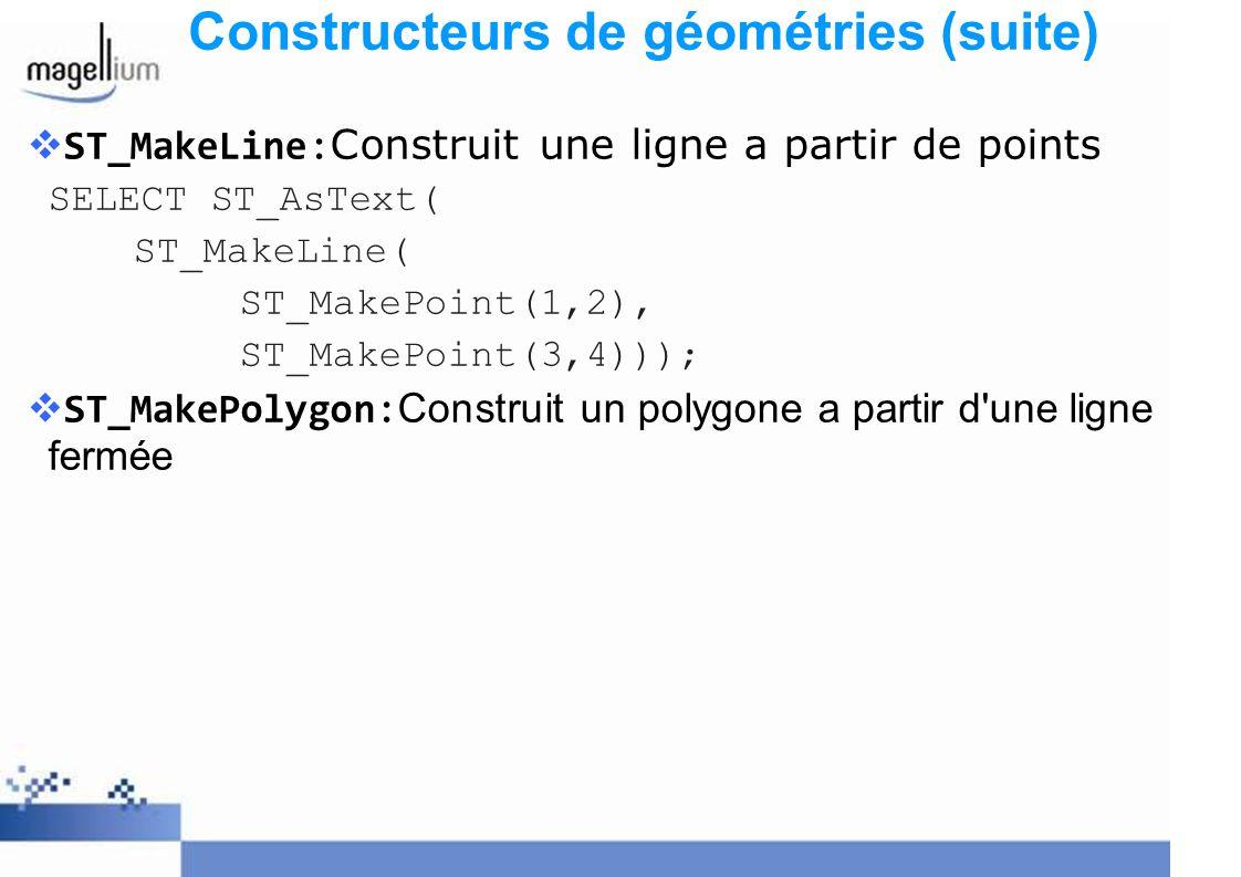Constructeurs de géométries (suite)