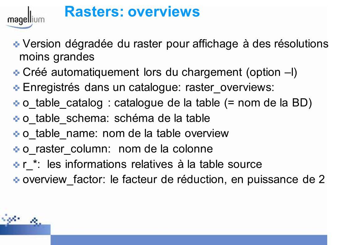 Rasters: overviews Version dégradée du raster pour affichage à des résolutions moins grandes. Créé automatiquement lors du chargement (option –l)
