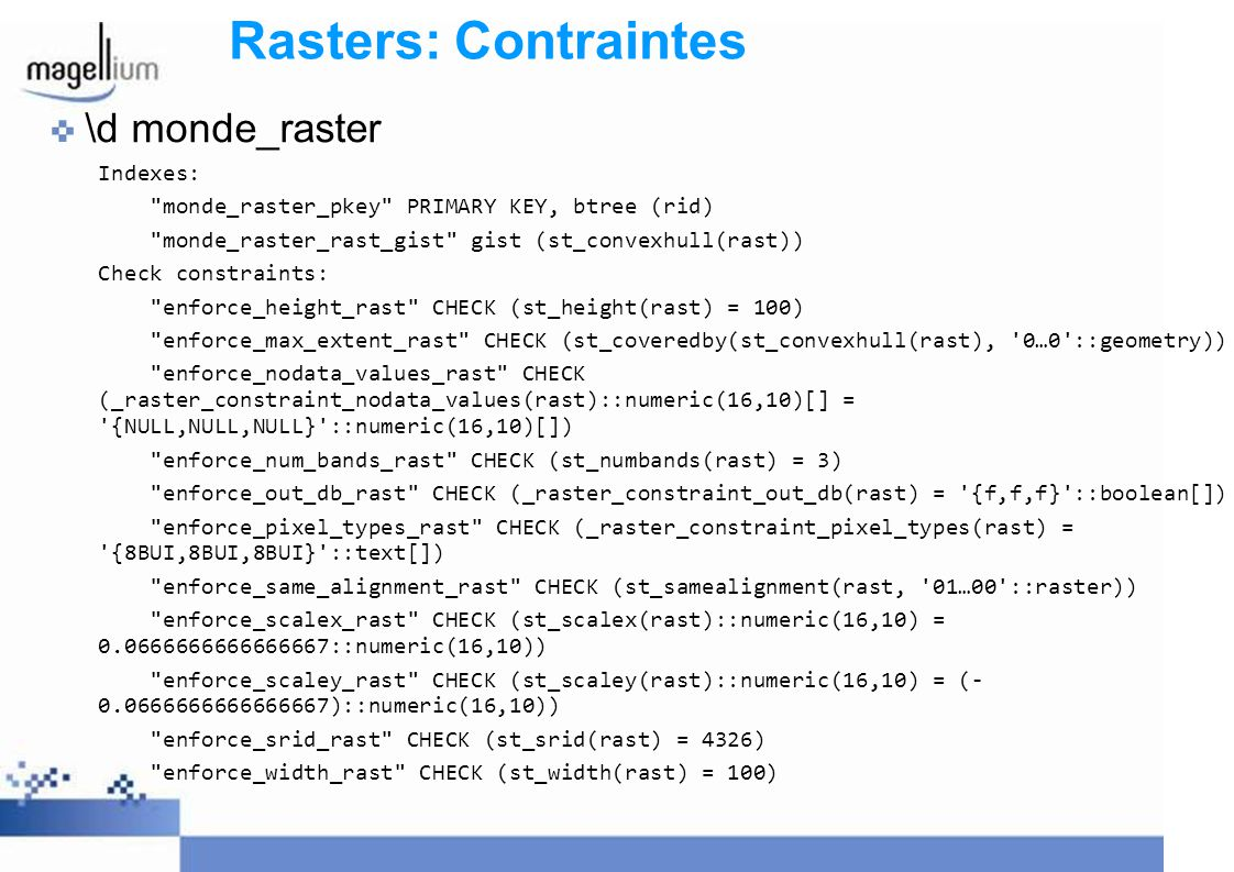 Rasters: Contraintes \d monde_raster Indexes: