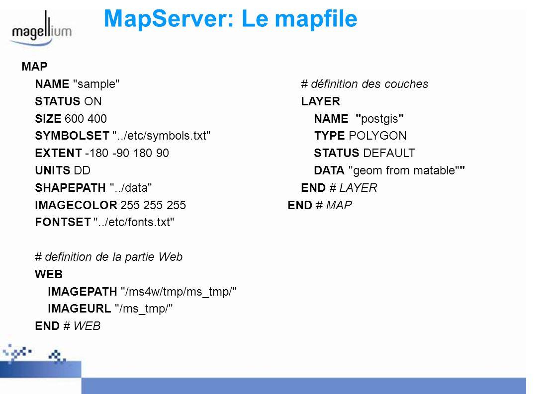 MapServer: Le mapfile MAP NAME sample # définition des couches