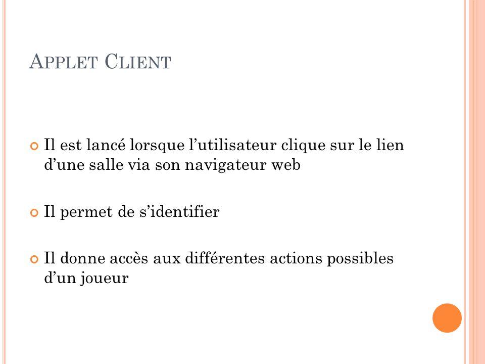 Applet Client Il est lancé lorsque l'utilisateur clique sur le lien d'une salle via son navigateur web.