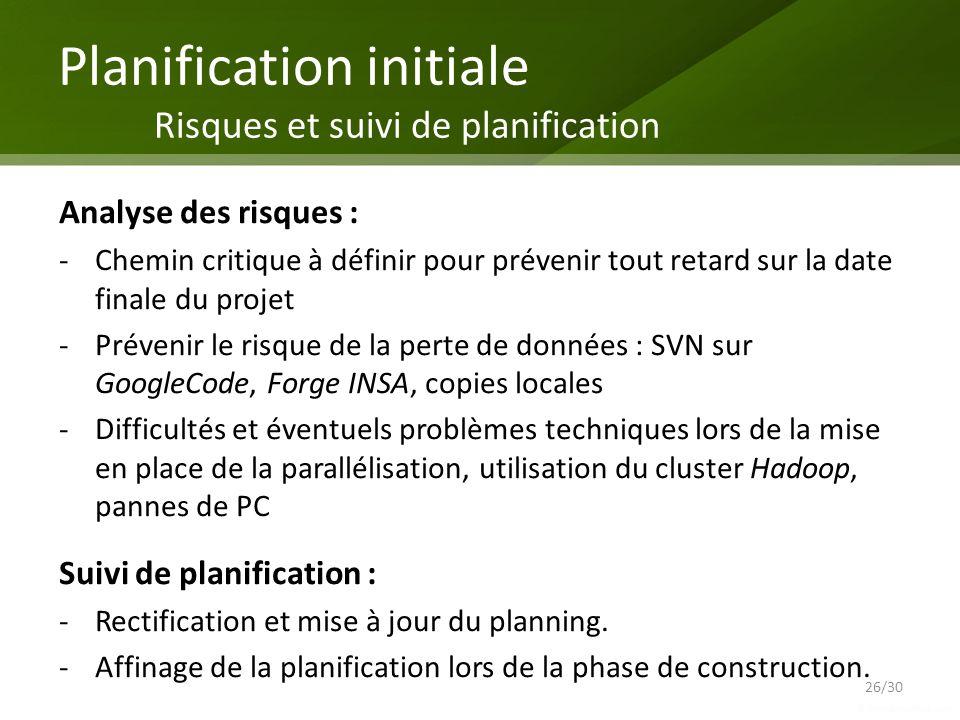 Planification initiale Risques et suivi de planification
