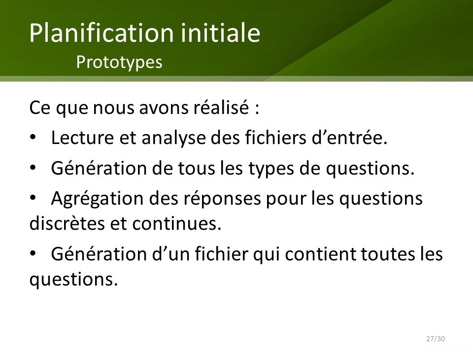 Planification initiale Prototypes