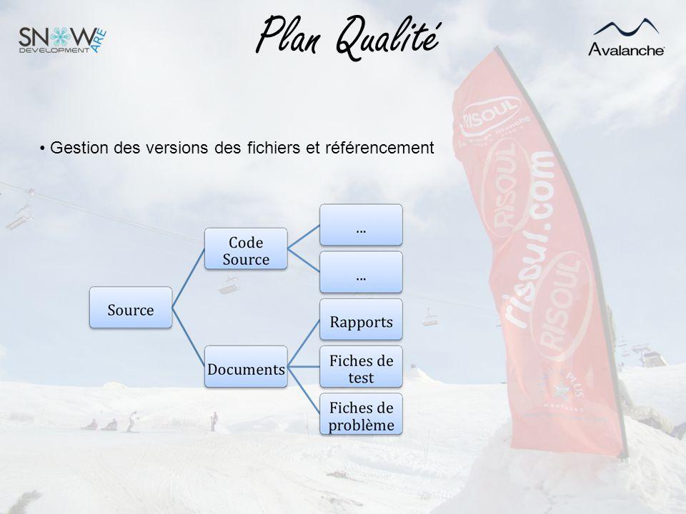 Plan Qualité Gestion des versions des fichiers et référencement