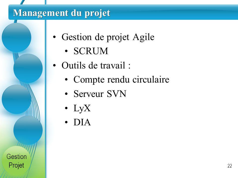 Gestion de projet Agile SCRUM Outils de travail :