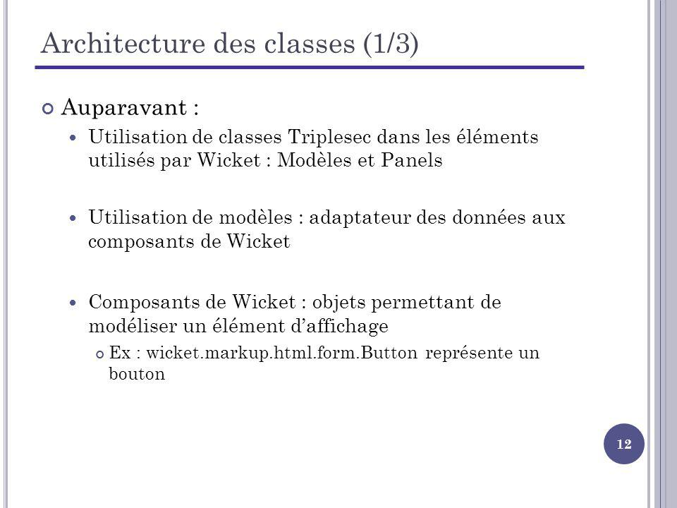 Architecture des classes (1/3)