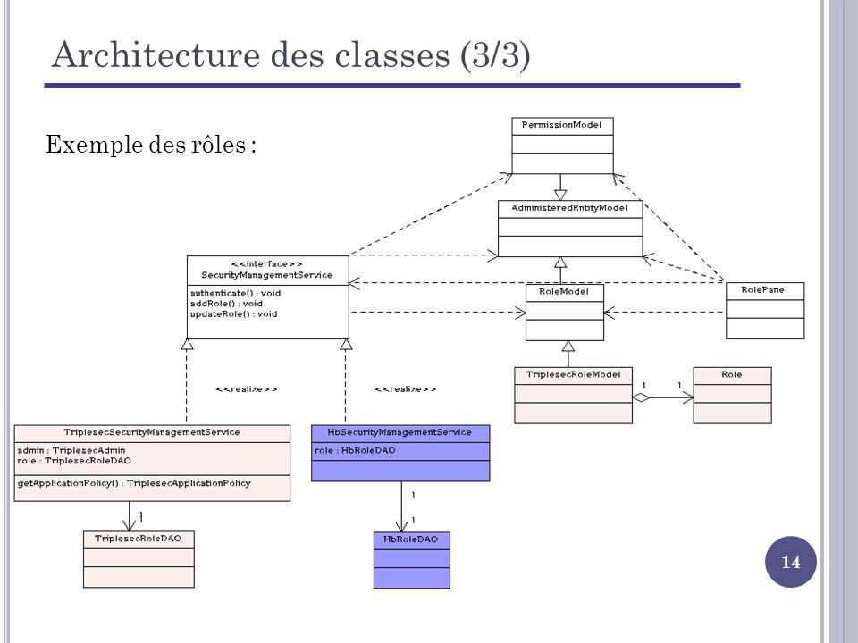 Architecture des classes (3/3)