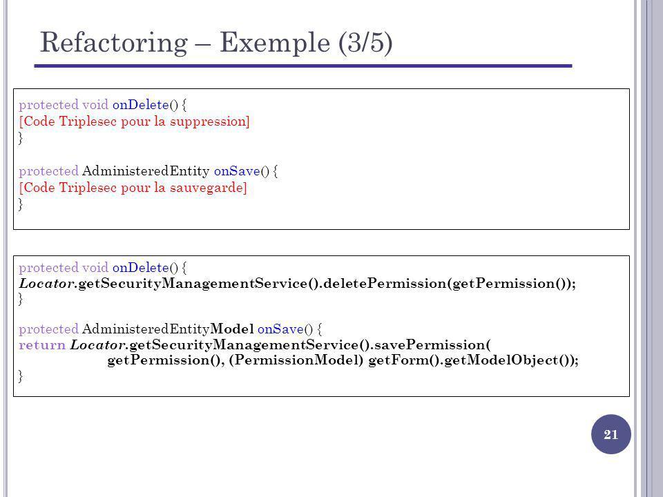 Refactoring – Exemple (3/5)