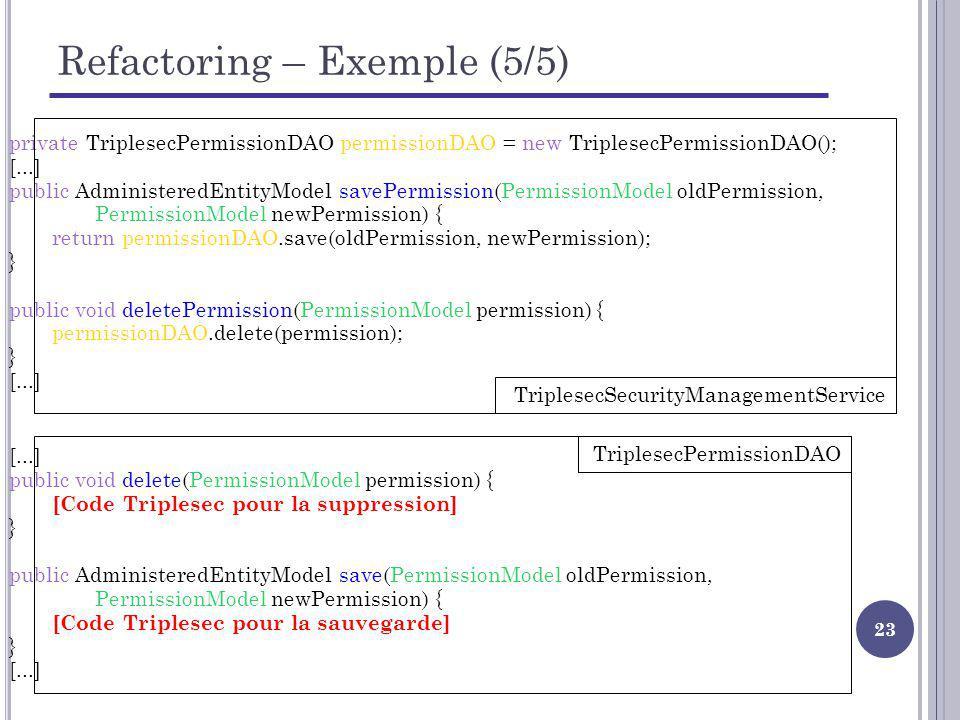 Refactoring – Exemple (5/5)