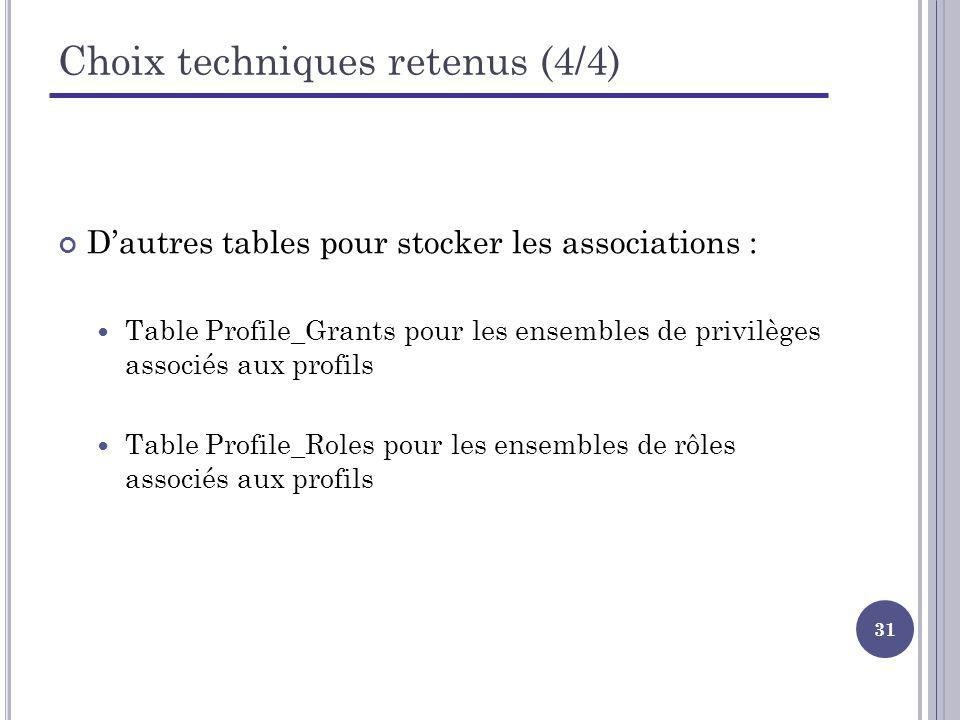 Choix techniques retenus (4/4)