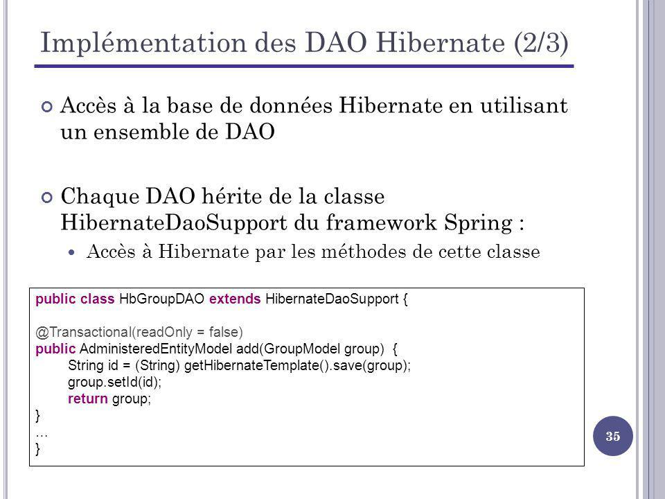 Implémentation des DAO Hibernate (2/3)