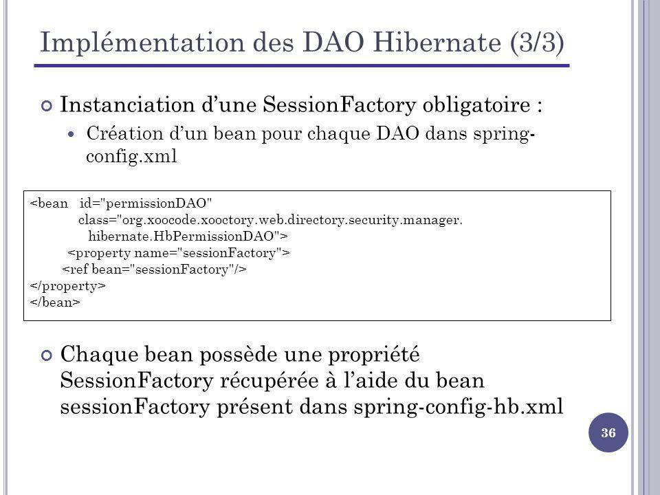 Implémentation des DAO Hibernate (3/3)