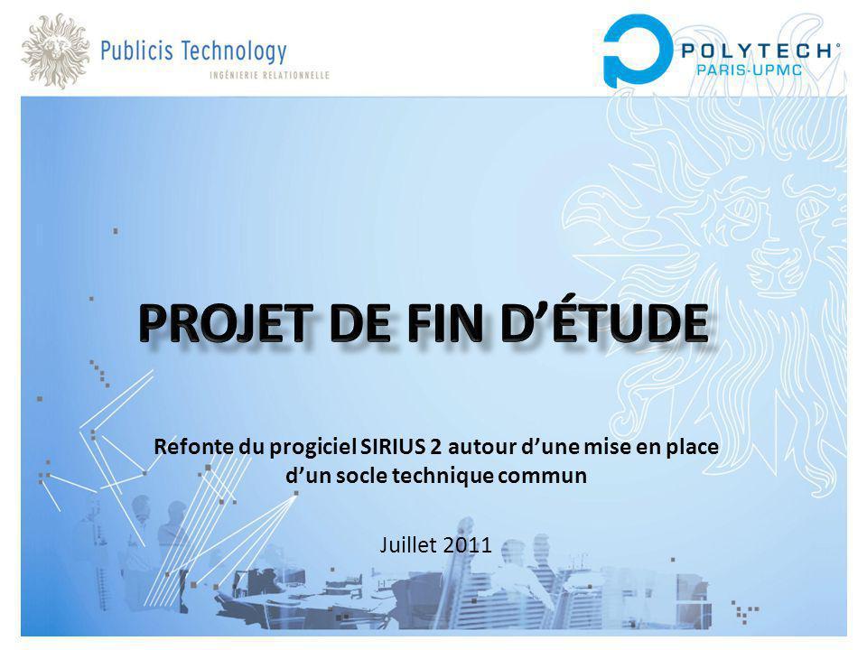 Projet de fin d'étude Refonte du progiciel SIRIUS 2 autour d'une mise en place d'un socle technique commun.