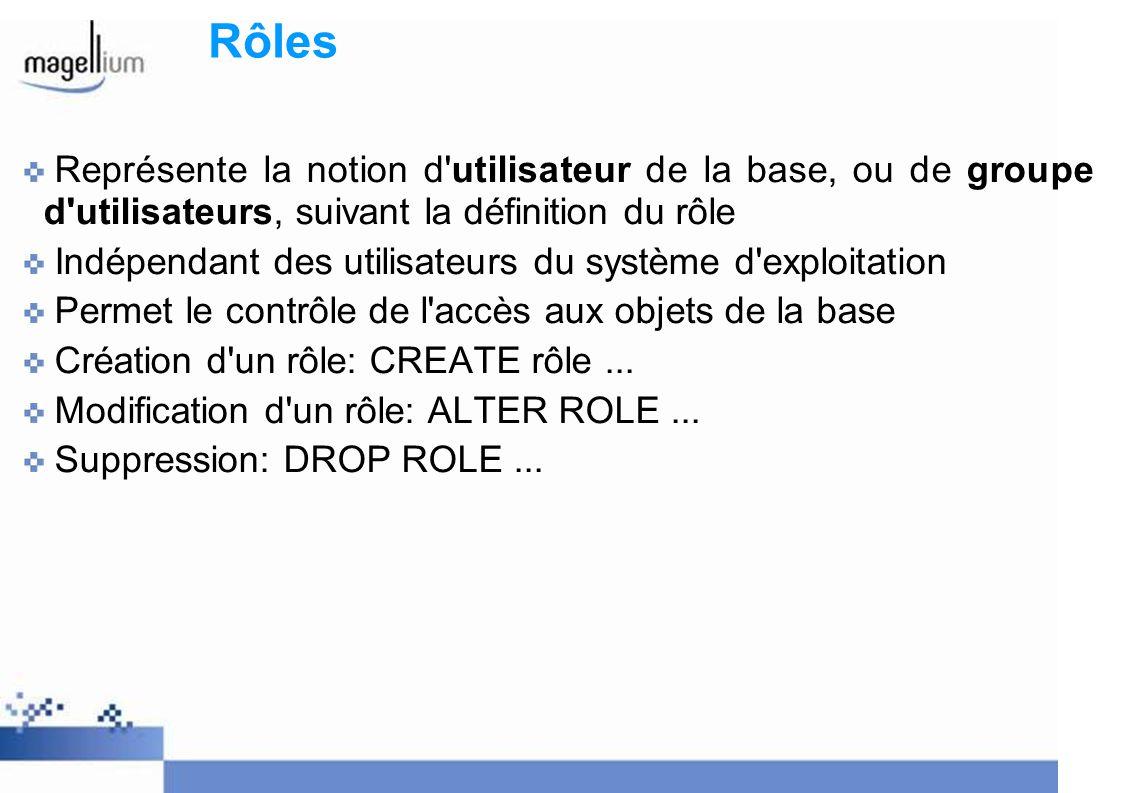 Rôles Représente la notion d utilisateur de la base, ou de groupe d utilisateurs, suivant la définition du rôle.