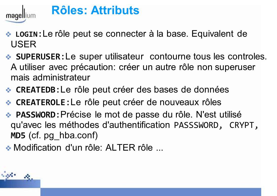 Rôles: Attributs LOGIN:Le rôle peut se connecter à la base. Equivalent de USER.
