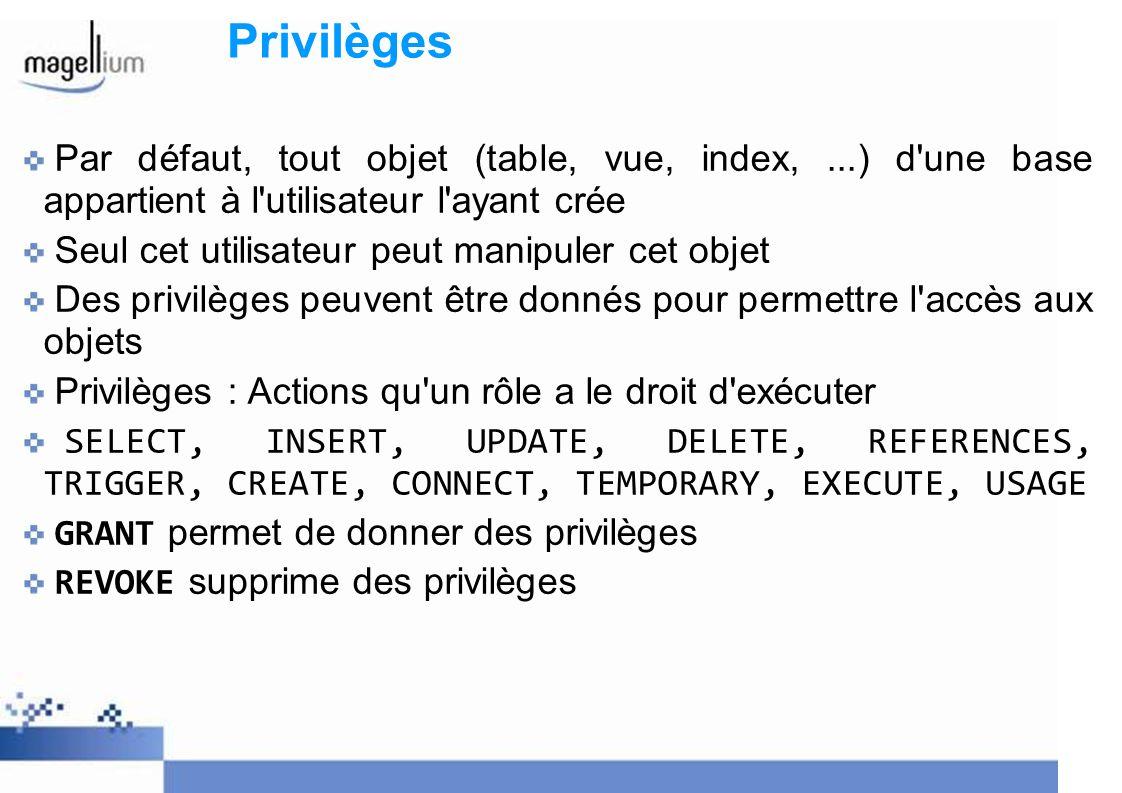 Privilèges Par défaut, tout objet (table, vue, index, ...) d une base appartient à l utilisateur l ayant crée.