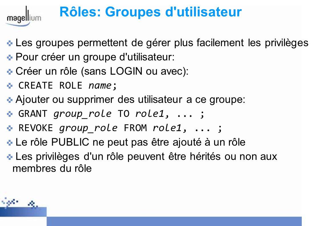 Rôles: Groupes d utilisateur
