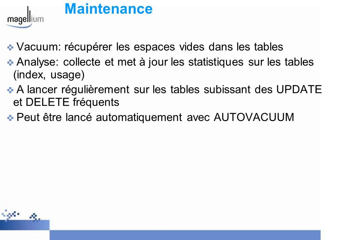 Maintenance Vacuum: récupérer les espaces vides dans les tables