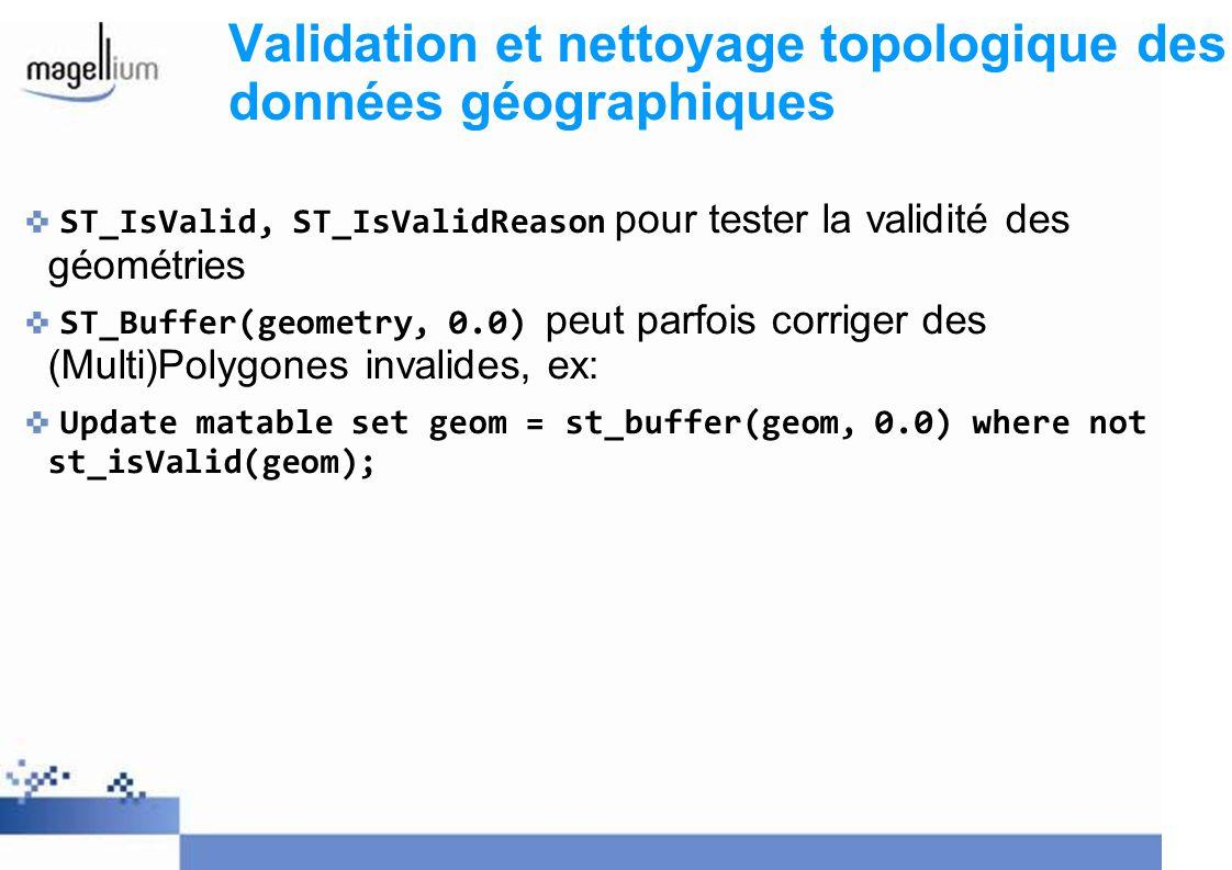 Validation et nettoyage topologique des données géographiques