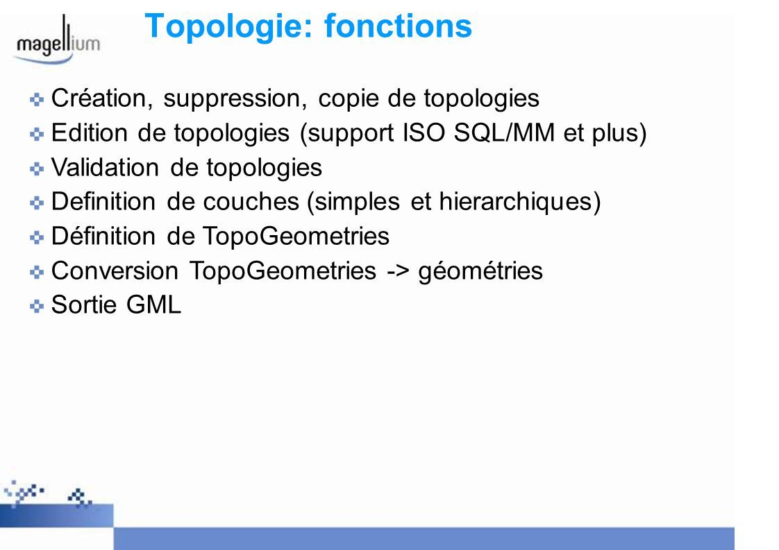 Topologie: fonctions Création, suppression, copie de topologies