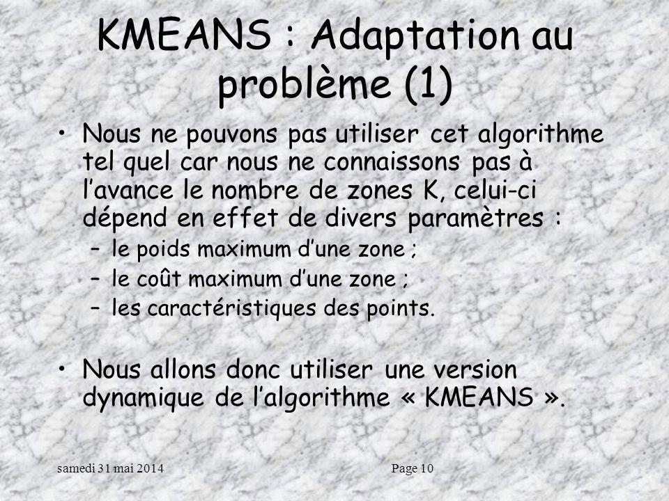 KMEANS : Adaptation au problème (1)