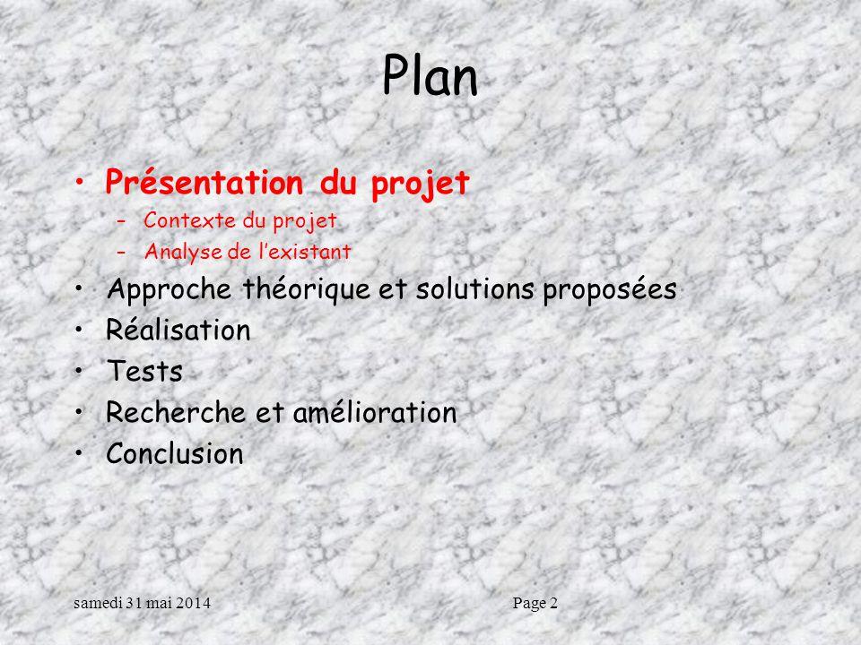 Plan Présentation du projet Approche théorique et solutions proposées