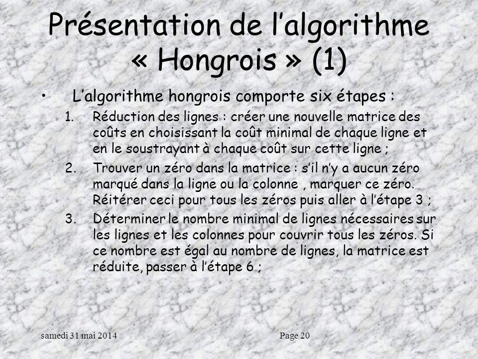 Présentation de l'algorithme « Hongrois » (1)