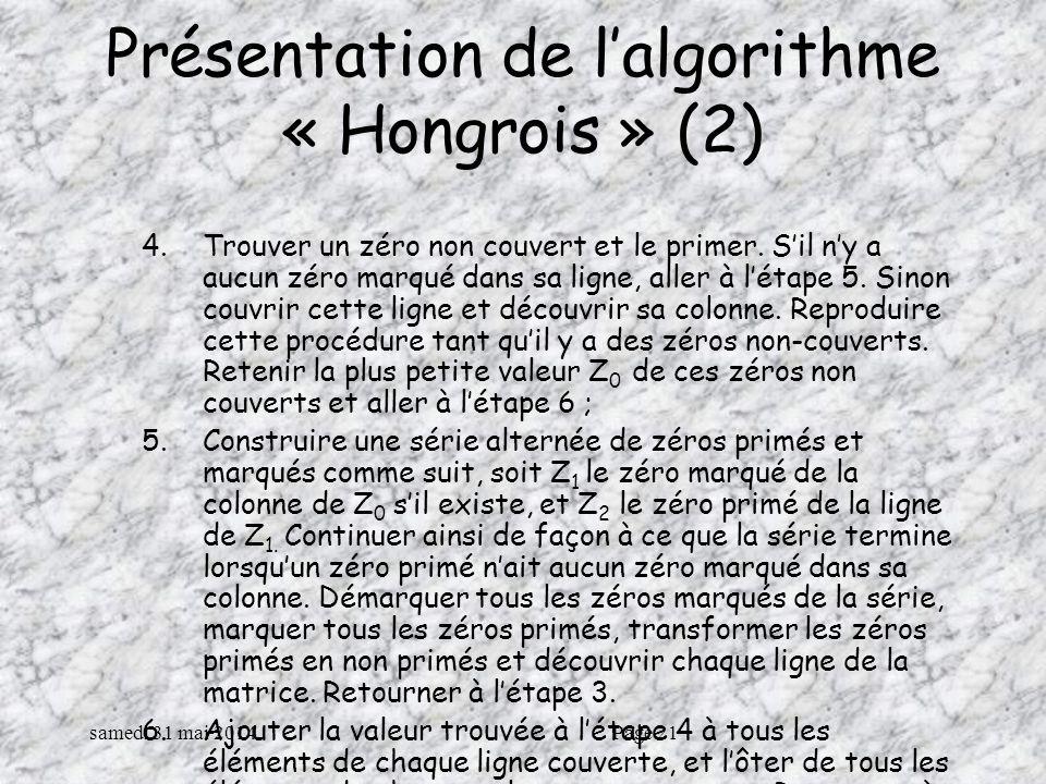 Présentation de l'algorithme « Hongrois » (2)