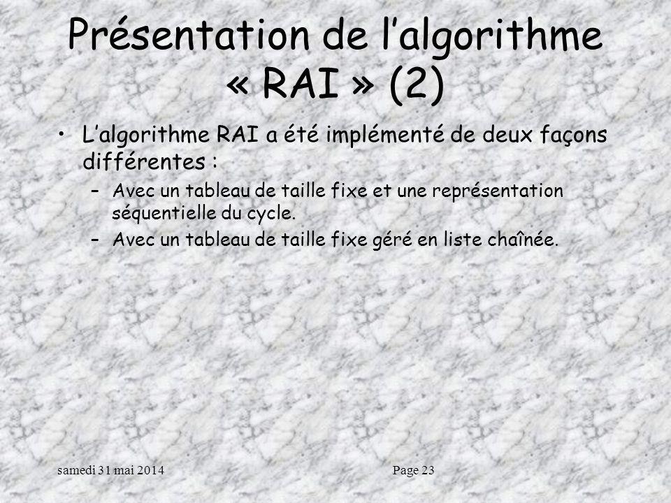 Présentation de l'algorithme « RAI » (2)