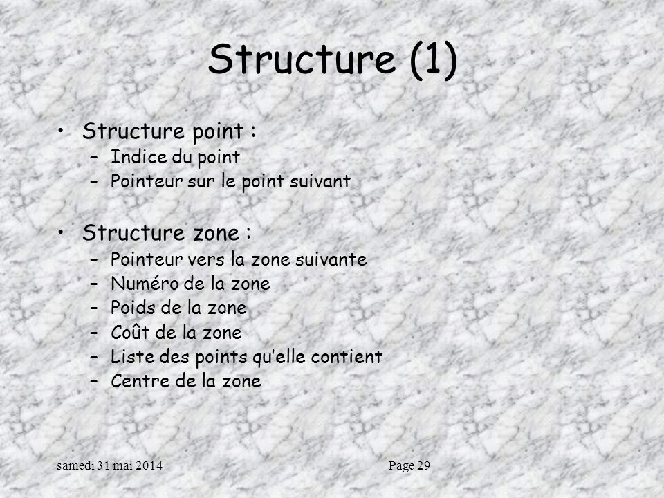 Structure (1) Structure point : Structure zone : Indice du point