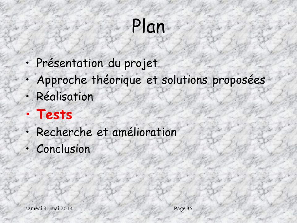 Plan Tests Présentation du projet