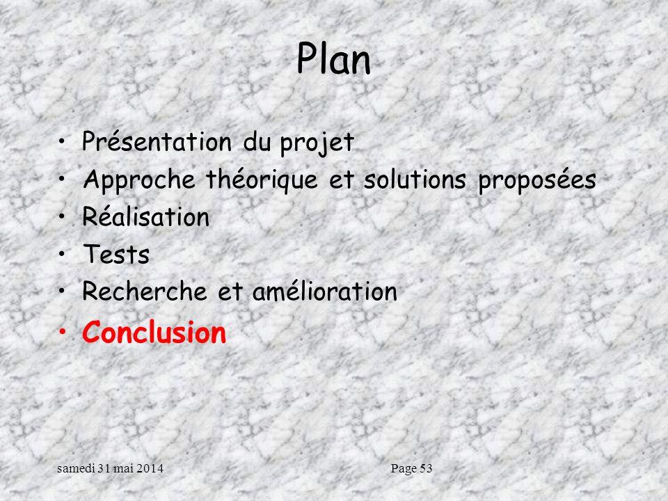 Plan Conclusion Présentation du projet